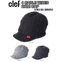Clef クレ 4 CABLE WIRED BRIM CAP ブリム キャップ RB3519 WIRED BRIM ワイヤー入り ブリム ケーブル ニット キャップ ロゴ タブ 帽子 正規品