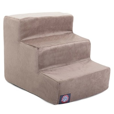 3 Step Stone Tan Suede Pet Stairs By Majestic Pet Products in neutral color by Majestic Pet