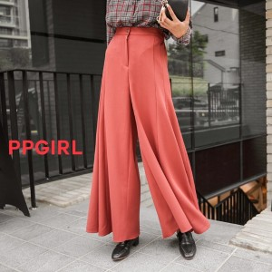 送料 0円★PPGIRL_A604 Slit boots cut pants / wide pants / wide slacks / long slacks / wide fit boot cut