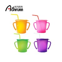 ★Agafura Magic Straw Cup 300ml★Made in Korea / 4 colors /  training cups / Baby cups
