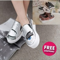 [today deal]Chiara ferragni style shoes with blink eyelash sequins flat shoes