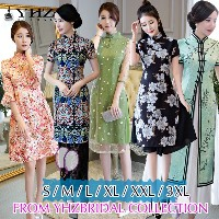 Modern QiPao Trumpet Cheongsam Dress Lace Embroidery Party Dress Floral Print Half Sleeves Dresses
