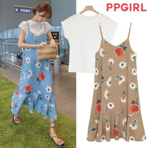 送料 0円★PPGIRL_A220 Blossom dress / T shirt + long dress / flower print dress / layered dress / dress