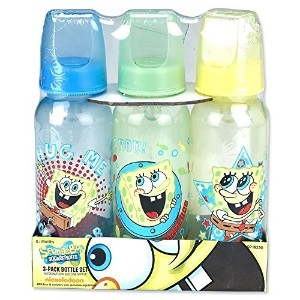 (スポンジボブ 哺乳瓶) SpongeBob Squarepants Hug Me 3-Pack Bottles (9 oz.) - Blue Green Yellow one size)