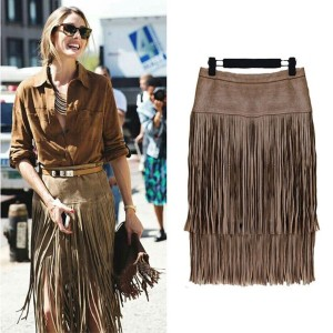 Charm Tiered Skirt High Waist Straight Leather Skirt Fringed Suede Tassel Skirts