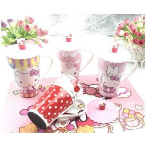 Hellokitty cartoon creative cup with lid ceramic cup large cute mug mugs coffee mug
