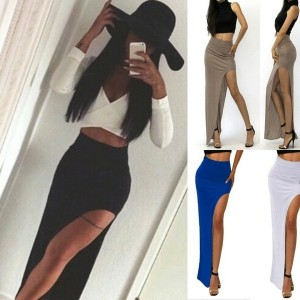 Sexy Minimal High Waist Jersey Knit Thigh High Side Slit Long Maxi Skirt