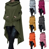 zhangtaotop Women s Fashion Solid Color Draw Cord Coat Long Sleeve Loose Casual Poncho Coat Hooded P