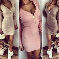 Women Knitted Dress Sexy V Neck Zipper Bodycon Ladies Sweater Dress