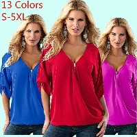 Womens Fashion Sexy Chiffon Blouse T-shirt Plus Size 13 Colors