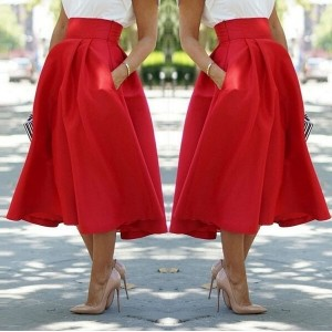 Women s fashion sexy red High Waist Midiskirt Tutu Bubble Skirt Big Swing Skirts