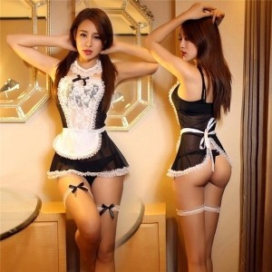 Sheer Lace Costume Cosplay French Maid Sexy Lingerie Outfit Fancy Dress # K-FAITH TRADE CO.,LIMITED