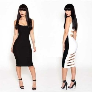 Sexy black white Stretch Bandage Body con Lace stitching Cocktail party Evening Club wear Dress