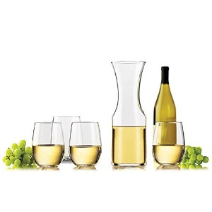 Libbey StemlessホワイトWine Glasses withカラフェ5 Piece Set