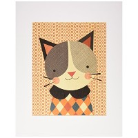 Petit Collage Unframed Print on Wood Wall Decor, Hip Cat, Large by Petit Collage