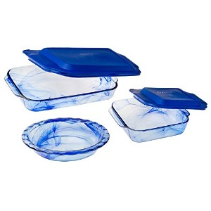 Pyrex Easy Grab ガラス製ベーカリーウェア&フードストレージ8点セット 5 pc watercolor ブルー COMINHKG103987