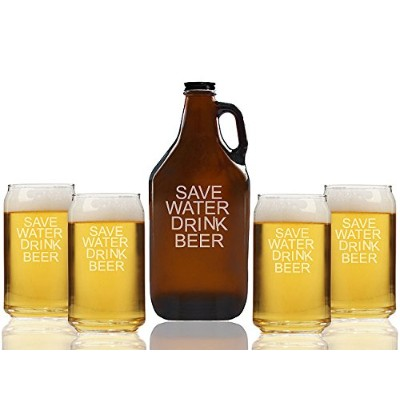 Save Water Drink BeerビールAmber Growler and can glasses ( Set of 5 )