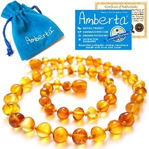 Amber Teethingネックレスfor Babies Amberta–Natural soothing効果、抗炎症、Teething不快感& Drooling Relief–100%...