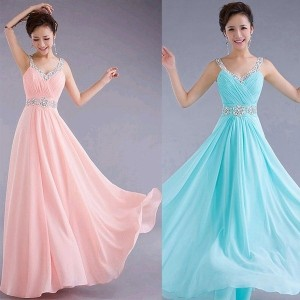 WOmen Sequins Formal Prom Casual Cocktail Party Ball Gown Evening Chiffon Dress