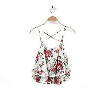 Fashion Women Summer Floral Vest Top Sleeveless Casual Tank Blouse Tops T-Shirt (White)
