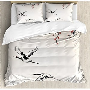 Flying Birds Decor布団カバーセットby Ambesonne、Branches of Japanese cherry tree with flying swallowsのエアスプリング...