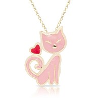 Lily Nily Girl 'sピンク猫ペンダントネックレス