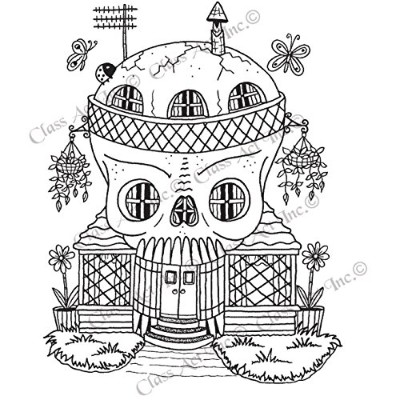 "Class Act Cling Mounted Rubber Stamp 3.25""X5.5""-Skeleton House (並行輸入品)"