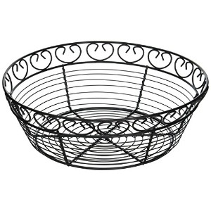 Winco WBKG-10R Wire Fruit Basket, 10-Inch by 3-Inch, Black by Winco