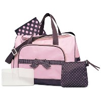 Baby Essentials Dotty Bow 4-Piece Diaper Bag Set - pink, one size by Baby Essentials