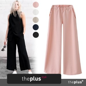 ★theplus★ KOREAN FASHION ★Simple Banding Wide Pants / plus size / Bestseller / Reorder