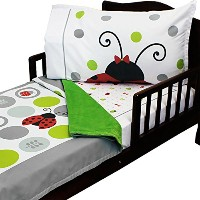 3pc RoomCraft Lucky Ladybugs Toddler Bedding Set Polka Dot Bugs Blanket Sheet and Pillowcase Set by...