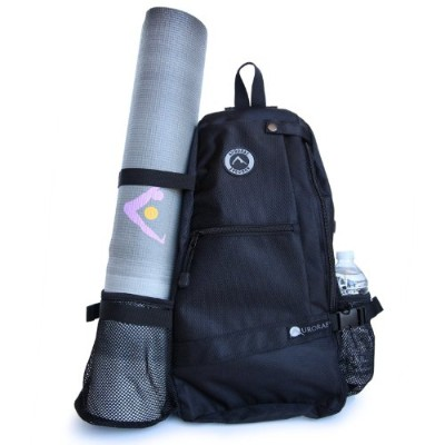 (Ebony) - Aurorae Yoga Mat Bag. Multi Purpose Cross-body Sling Back Pack. Mat sold separately.