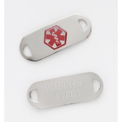 Medical Alert Stainless ID TAG for Bracelet Diabetes Type 1 by Fashion Alert Medical Jewelry