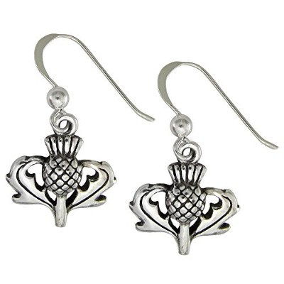 Sterling Silver Scottish Thistle Earrings Heritage Jewellery