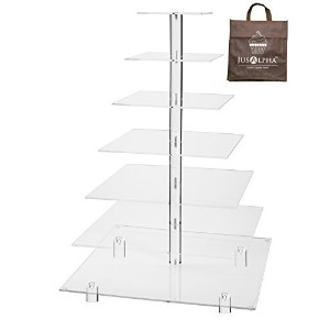 Large 7 Tier Wedding Party Acrylic Glass Cupcake Stand-Cake and Dessert Tower - (7S) (Large With...
