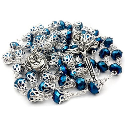 Unique Deep Blue Crystal Beads Rosary Catholic Necklace Holy Soil Medal & Cross