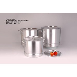 Uniware Heavy Gauge高品質アルミSauce Pot Set 6 Pcs Set (24 32 40 Qt) シルバー 9803