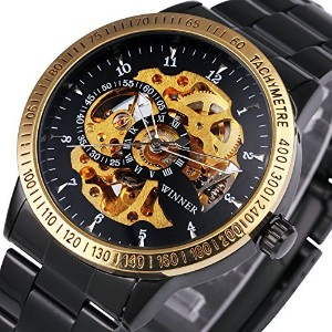 caluxeメンズLuxury Golden Automatic Mechanical Movement Watchesスケルトンダイヤル