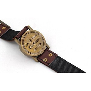"Wrist watch sundial Cuff with Quote "" Not All Those Who Wonderは失われます。」"