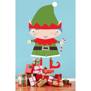 Oopsy Daisy Peel and Place Santa's Little Helper Boy by Vicky Barone, 54 by 30-Inch by Oopsy Daisy