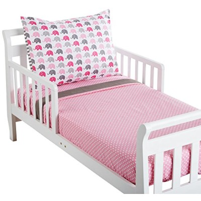 Bacati Little Sailor 3 Piece Toddler Bedding Set, Pink/Grey by Bacati