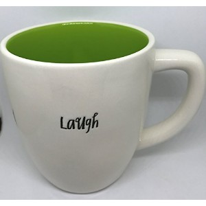 Rae Dunn byマゼンタRare Laugh inスクリプトWriting with Green Interior Coffee Tea Mug Cup