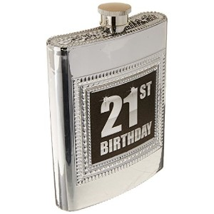 Silver Plastic Flask 21st Birthday by Forum Novelties