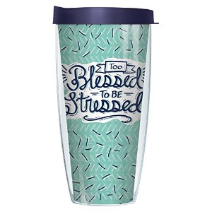 Too Blessed To Be Stressed 16オンスマグタンブラーカップwith Navy蓋 22oz