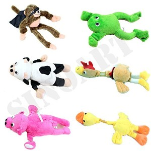 sinoart 6個セットSlingshot Flingshot Animal Toy for Kids Screaming Flying Sock Plush Animals Monkey...