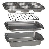 Ecolution Bakeins 4-Piece Toaster Oven Bakeware Set - PFOA, BPA, and PTFE Free Non-Stick Coating -...