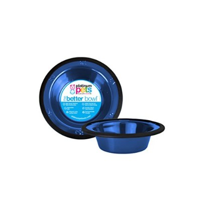 Platinum Pets 2-Cup Stainless Steel Wide Rimmed Bowl, Blue by Platinum Pets