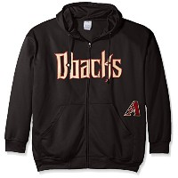 MLB Arizona DiamondbacksメンズFull Zip Poly Fleece with Wordmark Chest withロゴnearポケット、2 x /トール、ブラック