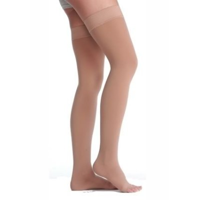 Juzo Soft Thigh High With Silicone Dot Band 20-30mmHg Open Toe, II, Beige by Juzo