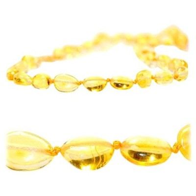 Certified Baltic Amber Teething Necklace for Baby (LEMON bean) - Anti-inflammatory by The Art of...
